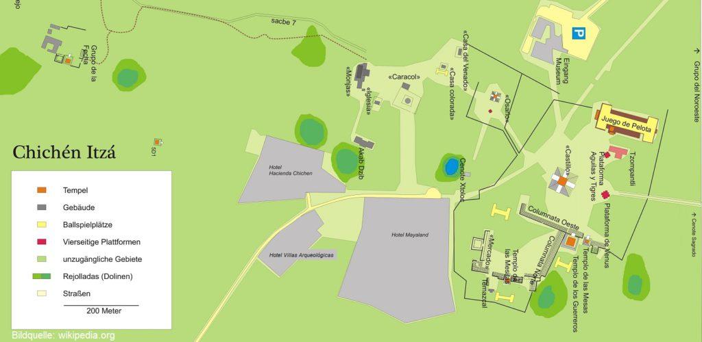 Lageplan von Chichen Itza